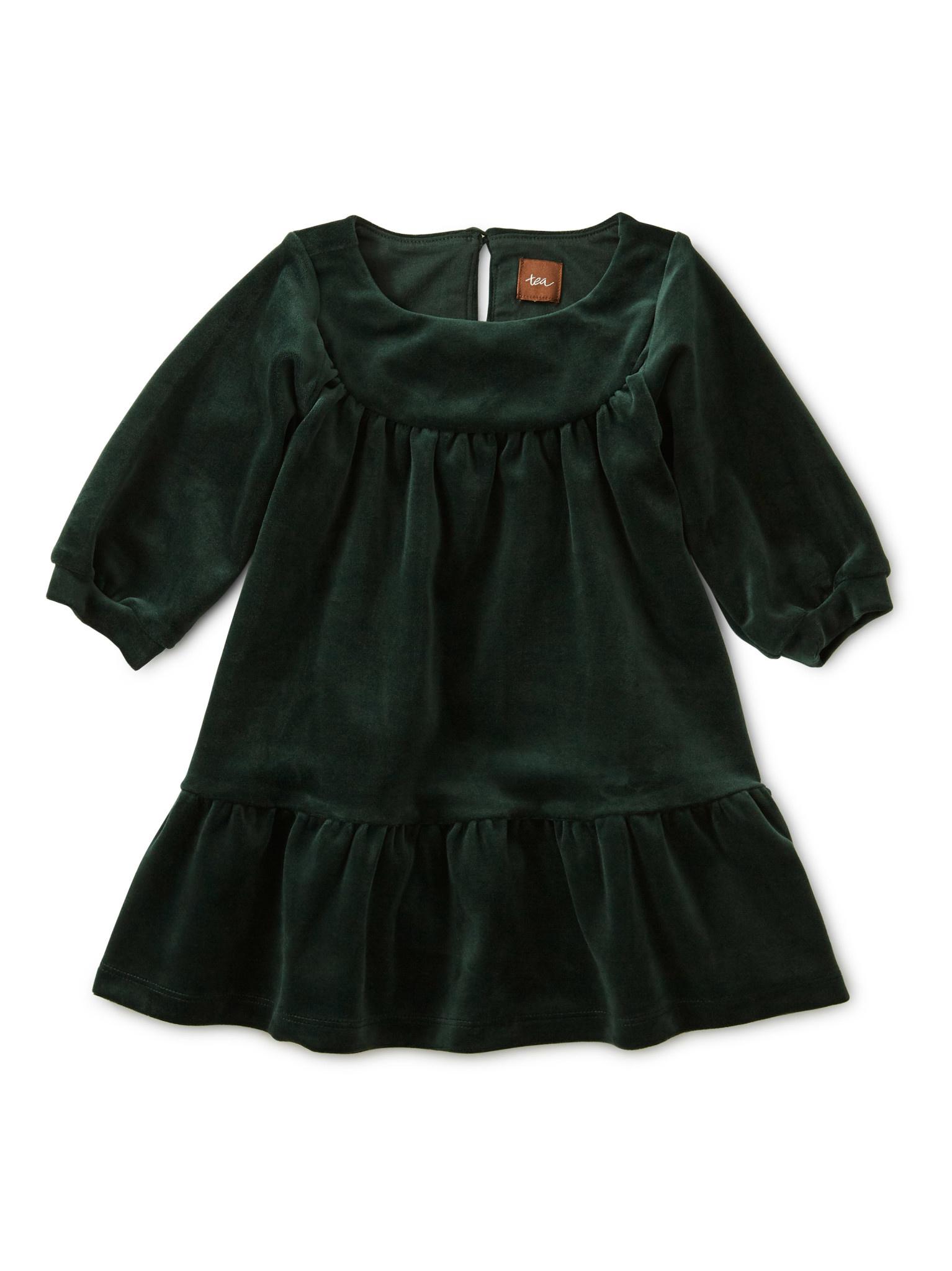 Tea Collection Velour Ruffle Baby Dress - Mallard