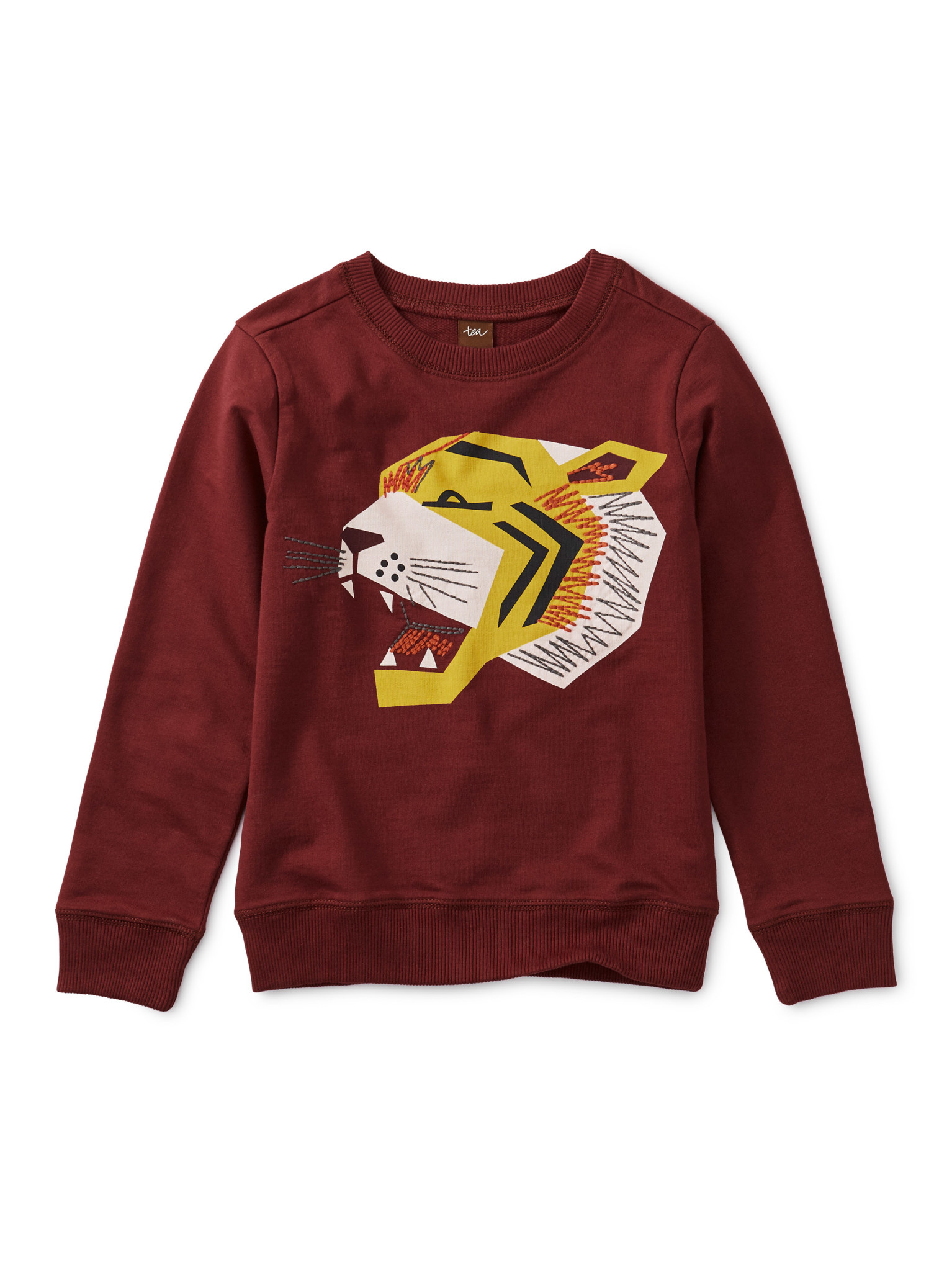 Tea Collection Embroidered Tiger Pullover