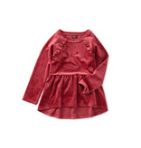 Tea Collection Earth Red Velour Tunic Ruffle Top