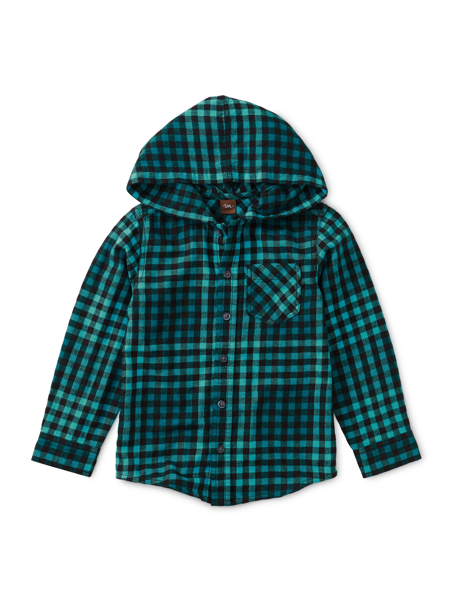Tea Collection Bold Blue Plaid Hooded Button Up Shirt