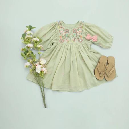 Pink Chicken Ava Bella Dress - Green Tea
