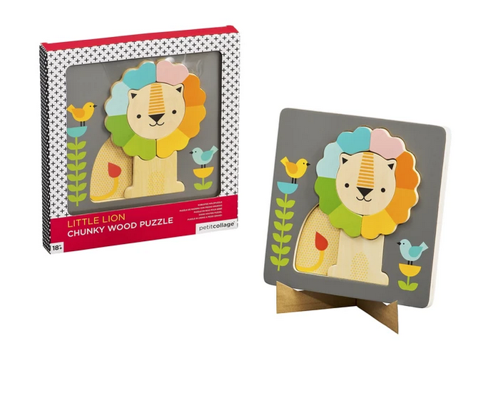 Wild & Wolf Lion Chunky Wooden Tray Puzzle