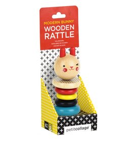Petit Collage Wooden Rattle - Bunny