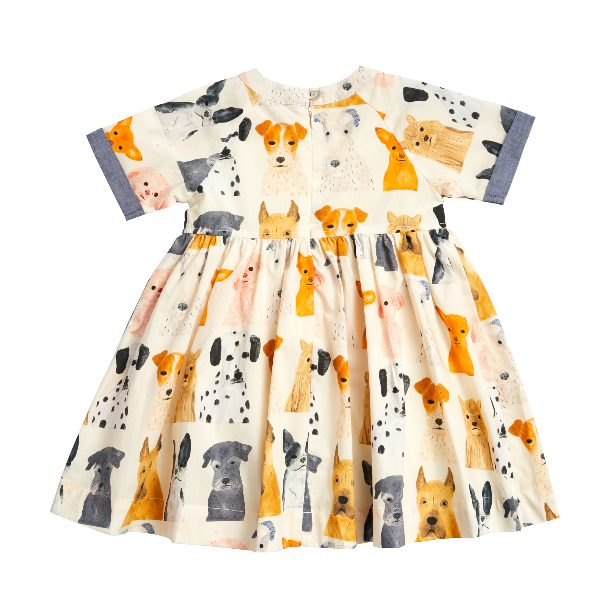 Pink Chicken Olive Dress- Watercolor Dogs