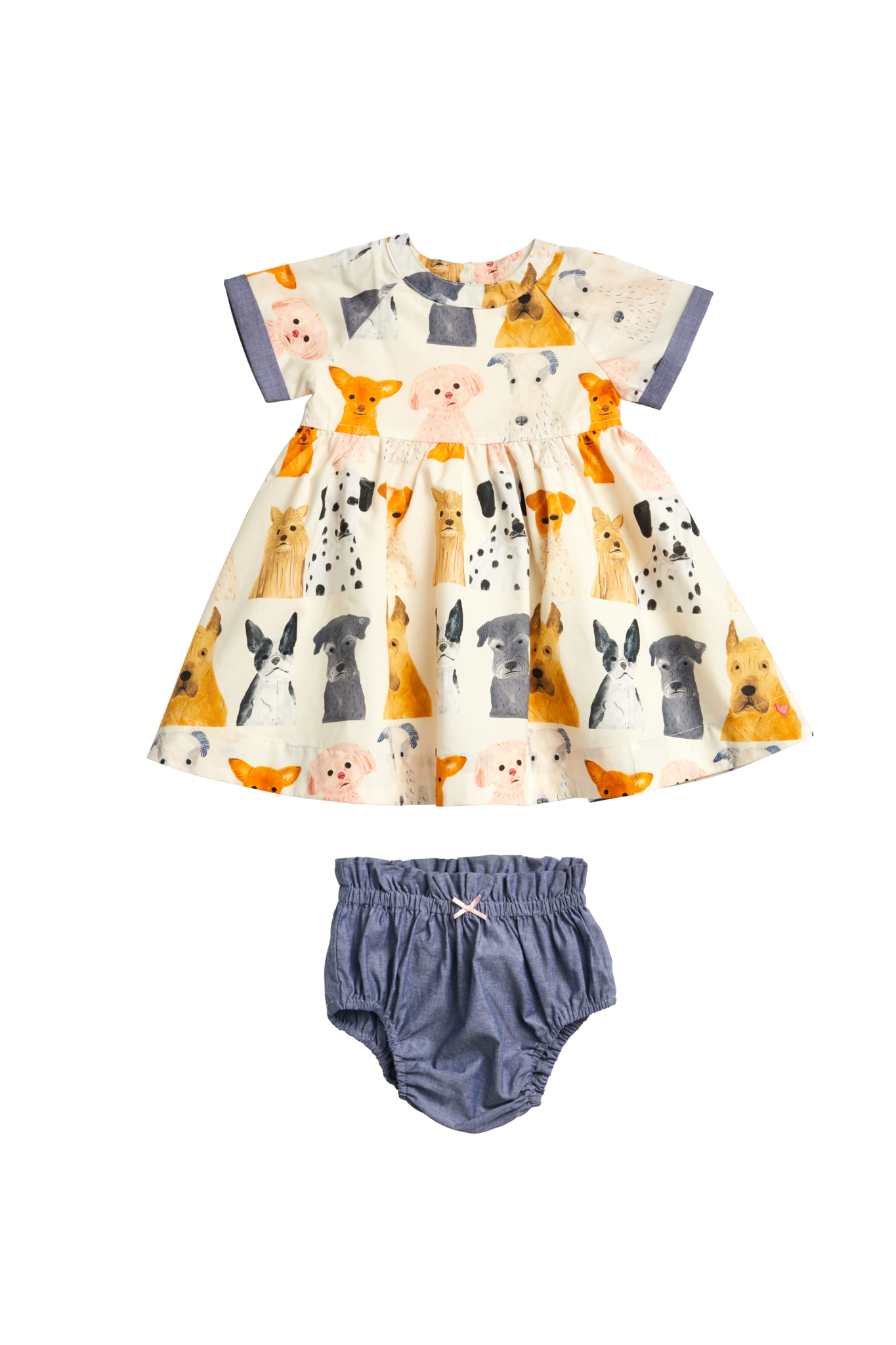 Pink Chicken Olive Dress Set - Watercolor Dogs