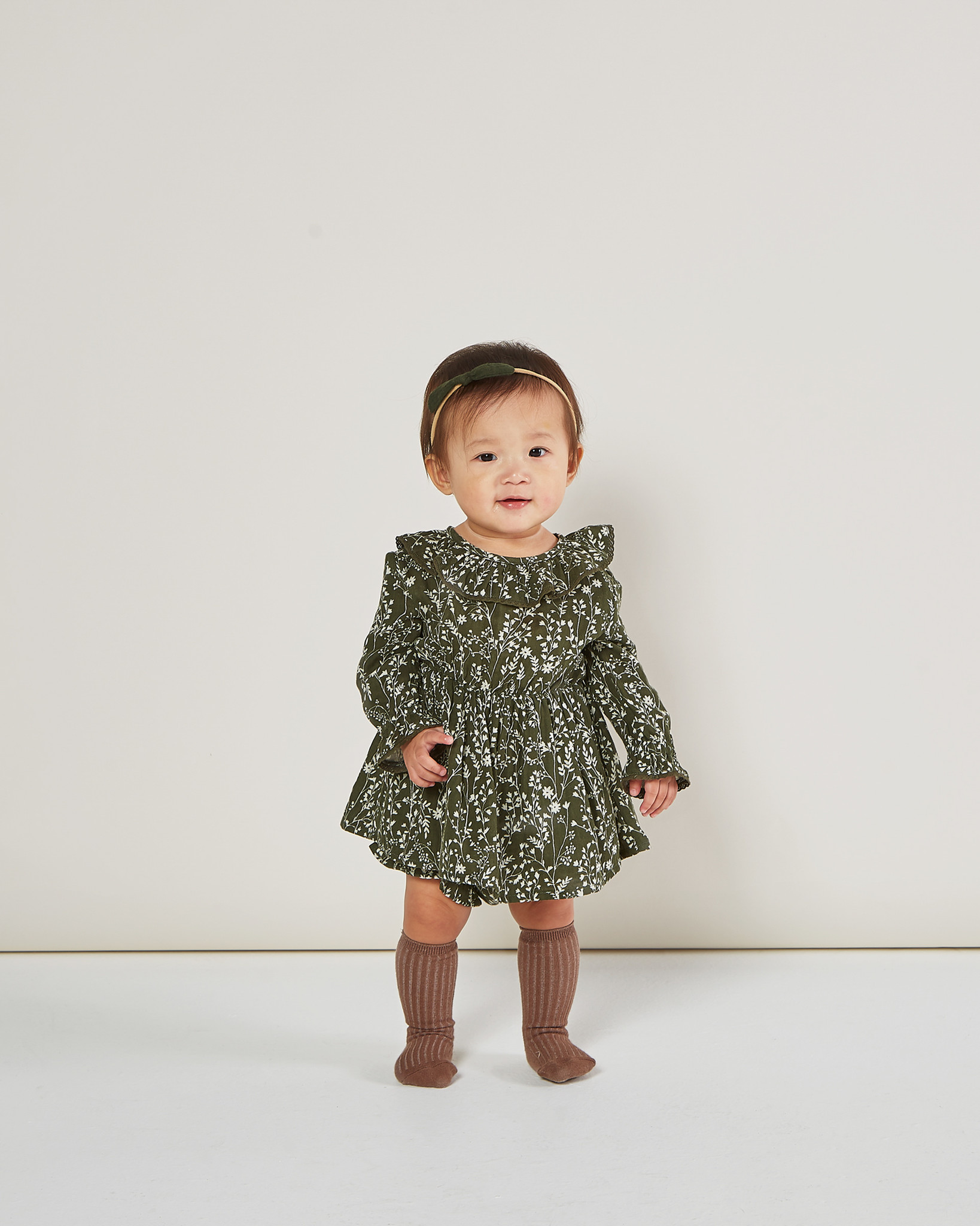 Rylee & Cru Vines Ruffle Collar Baby Dress