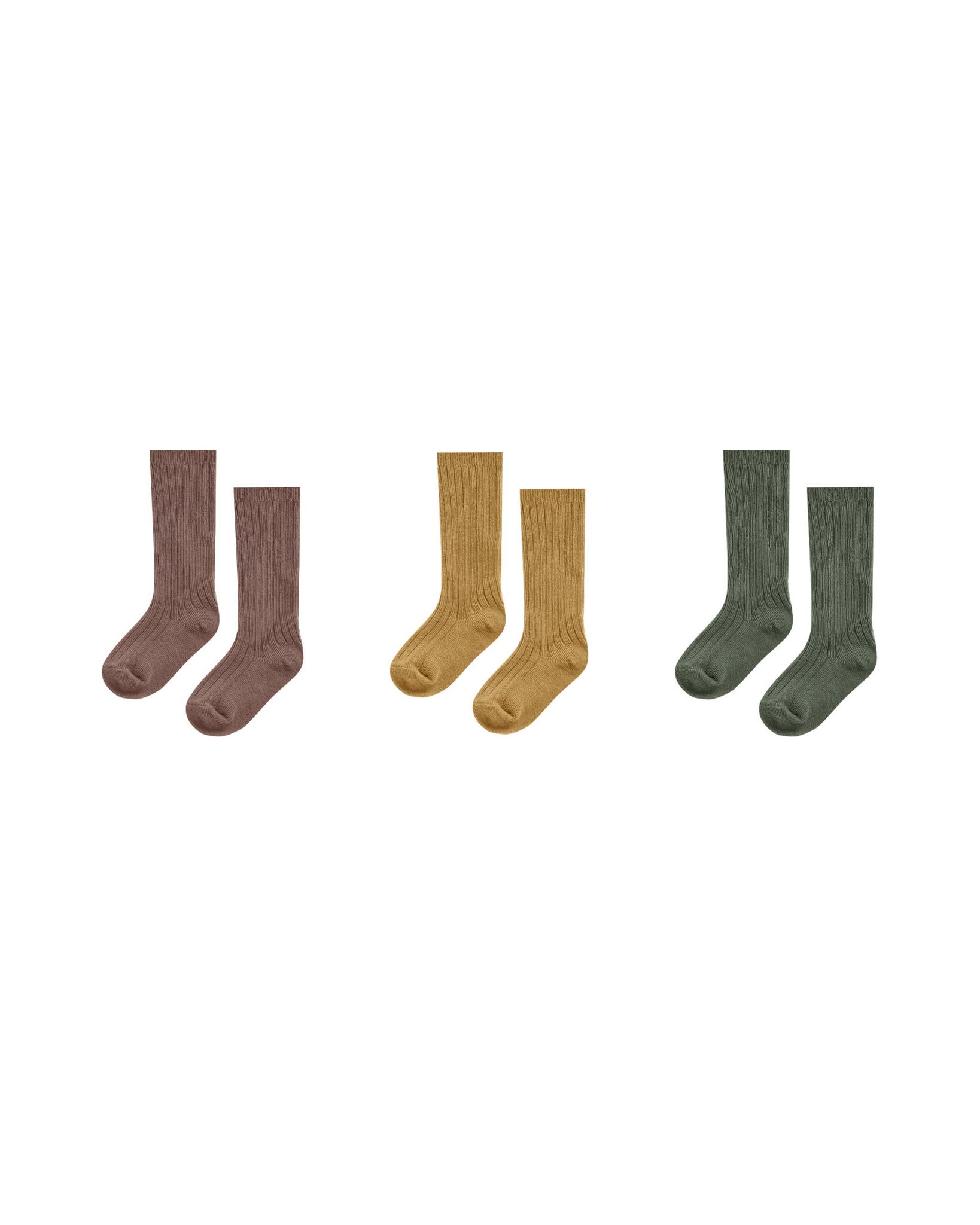 Rylee & Cru Knee Sock Set: Wine, Goldenrod, Forest