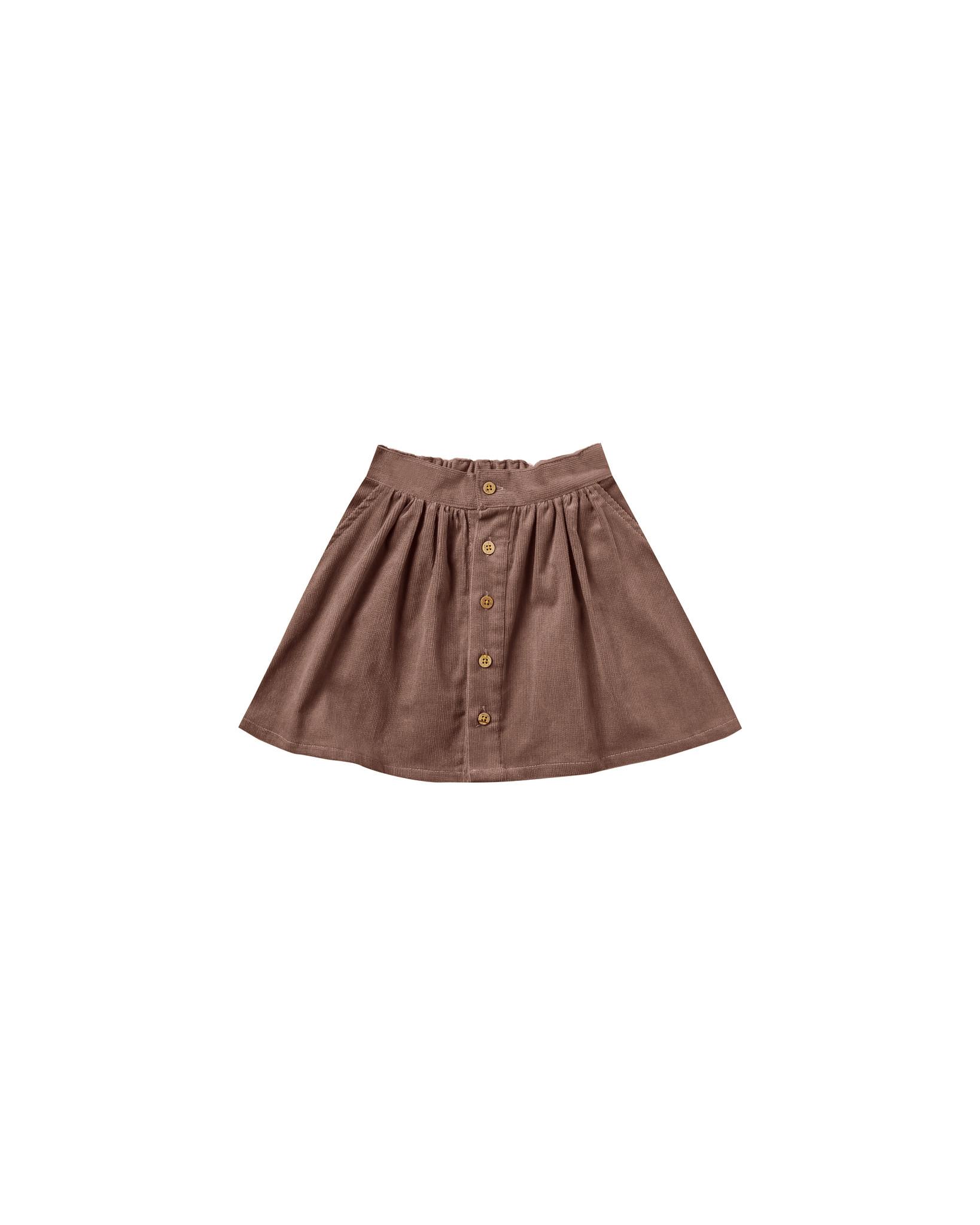 Rylee & Cru Button Front Mini Skirt - Wine