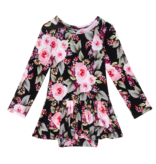 Posh Peanut Milana Long Sleeve Basic with Twirl Skirt Bodysuit