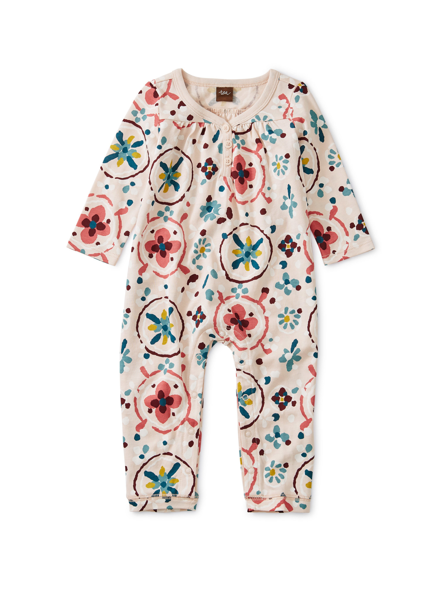 Tea Collection Floral Tibetan Rugs Shirred Henley Romper