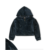 Tea Collection Velour Hoodie- Whale Blue