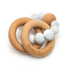Loulou Lollipop Silicone & Wood Teether - Marble