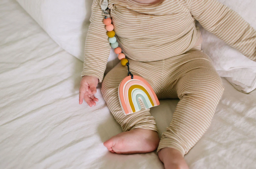 Loulou Lollipop Silicone Teether - Pastel Rainbow