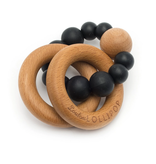 Loulou Lollipop Silicone & Wood Teether - Black