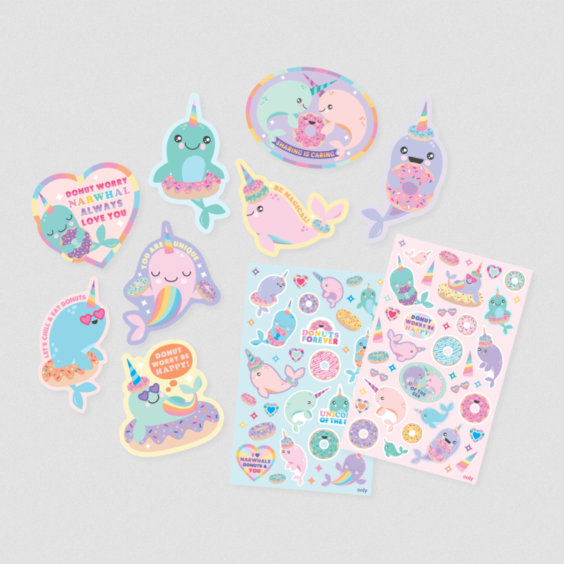 Ooly Scented Scratch Stickers - Nom Nom Narwhals