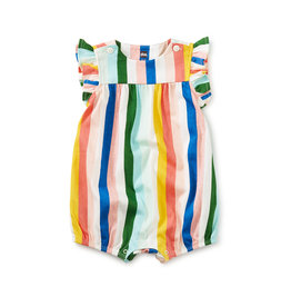 Tea Collection Flutter Button Baby Romper- Lisbon Stripe