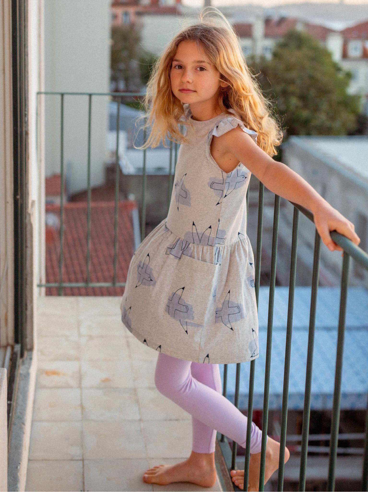 Tea Collection Flutter Sleeve Pocket Dress - Andouin's Gull
