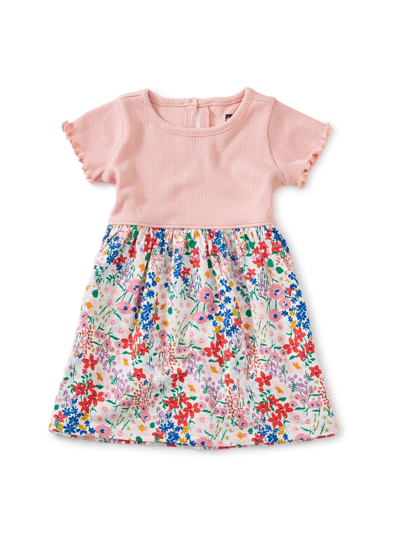 Tea Collection Print Mix Full Skirt Dress- Garden Chalk