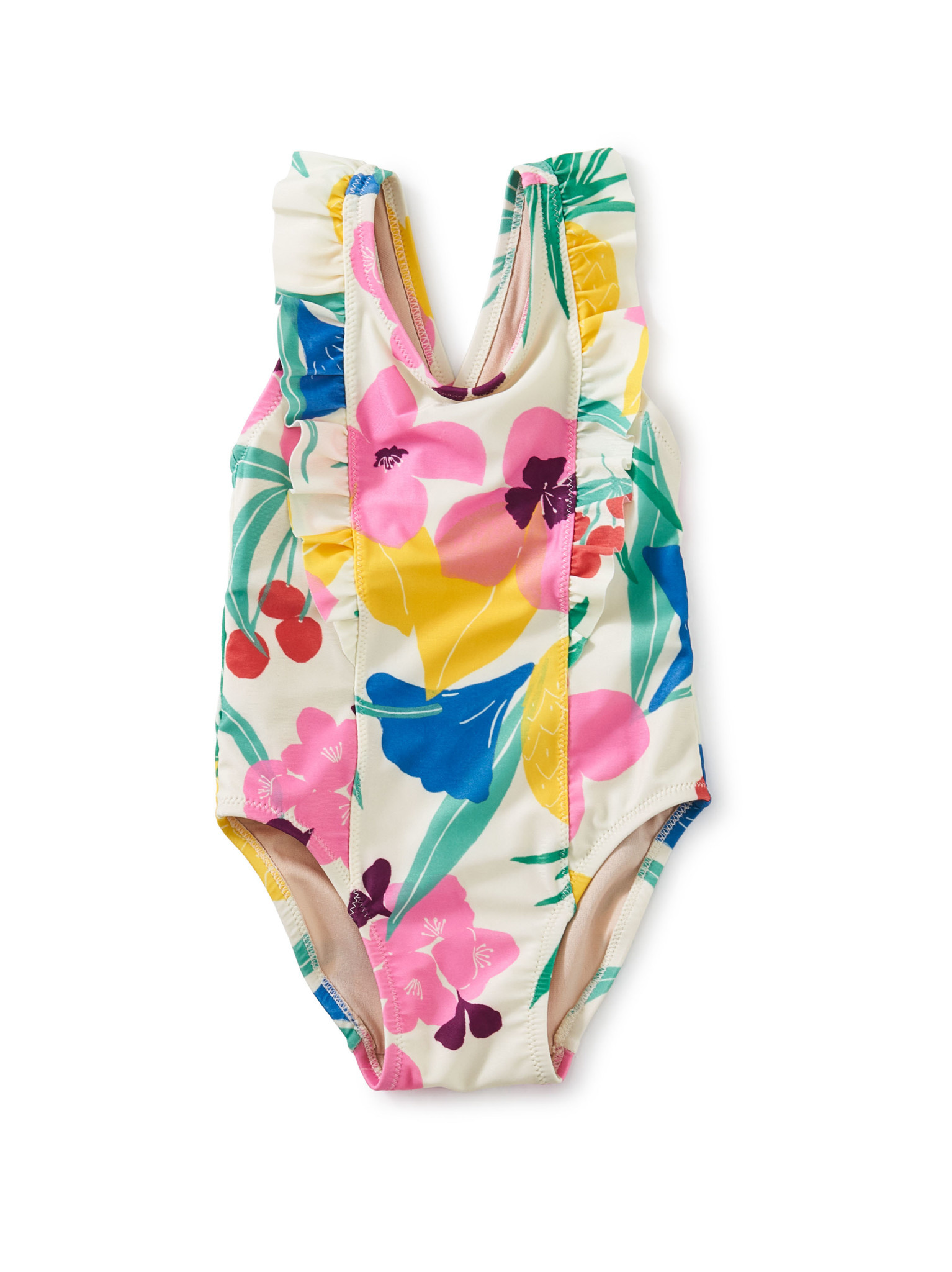 Tea Collection One-Piece Ruffle Baby Swimsuit- Fruit Floral