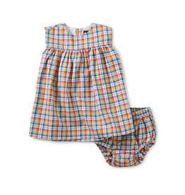 Tea Collection Empire Baby Dress Set- Spring Plaid
