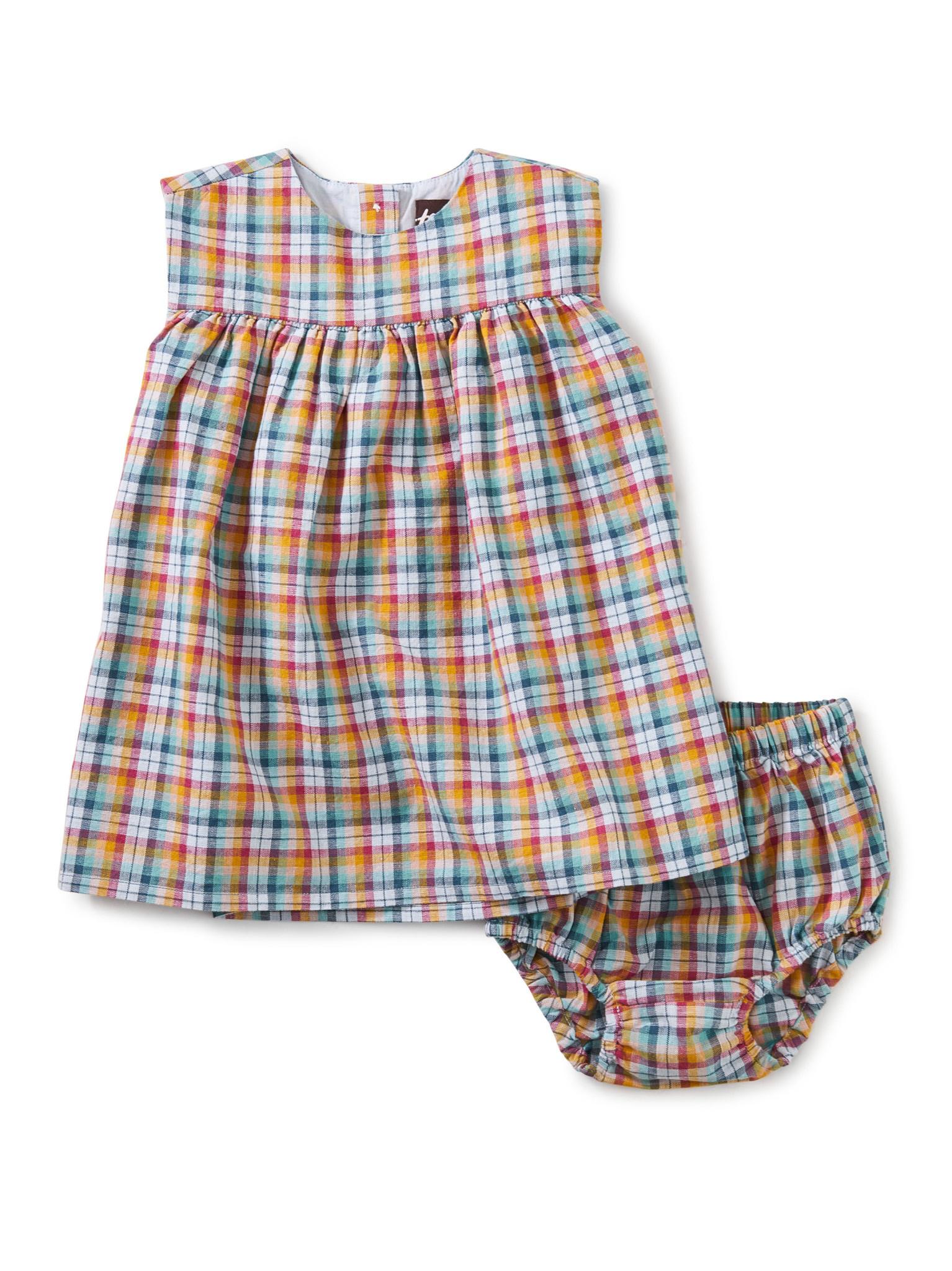 Tea Collection Empire Baby Dress Set- Spring Plaid