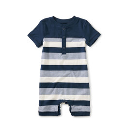 Tea Collection Henley Baby Romper- Whale Blue