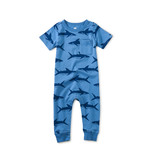 Tea Collection Pop Pocket Romper- Bull Shark