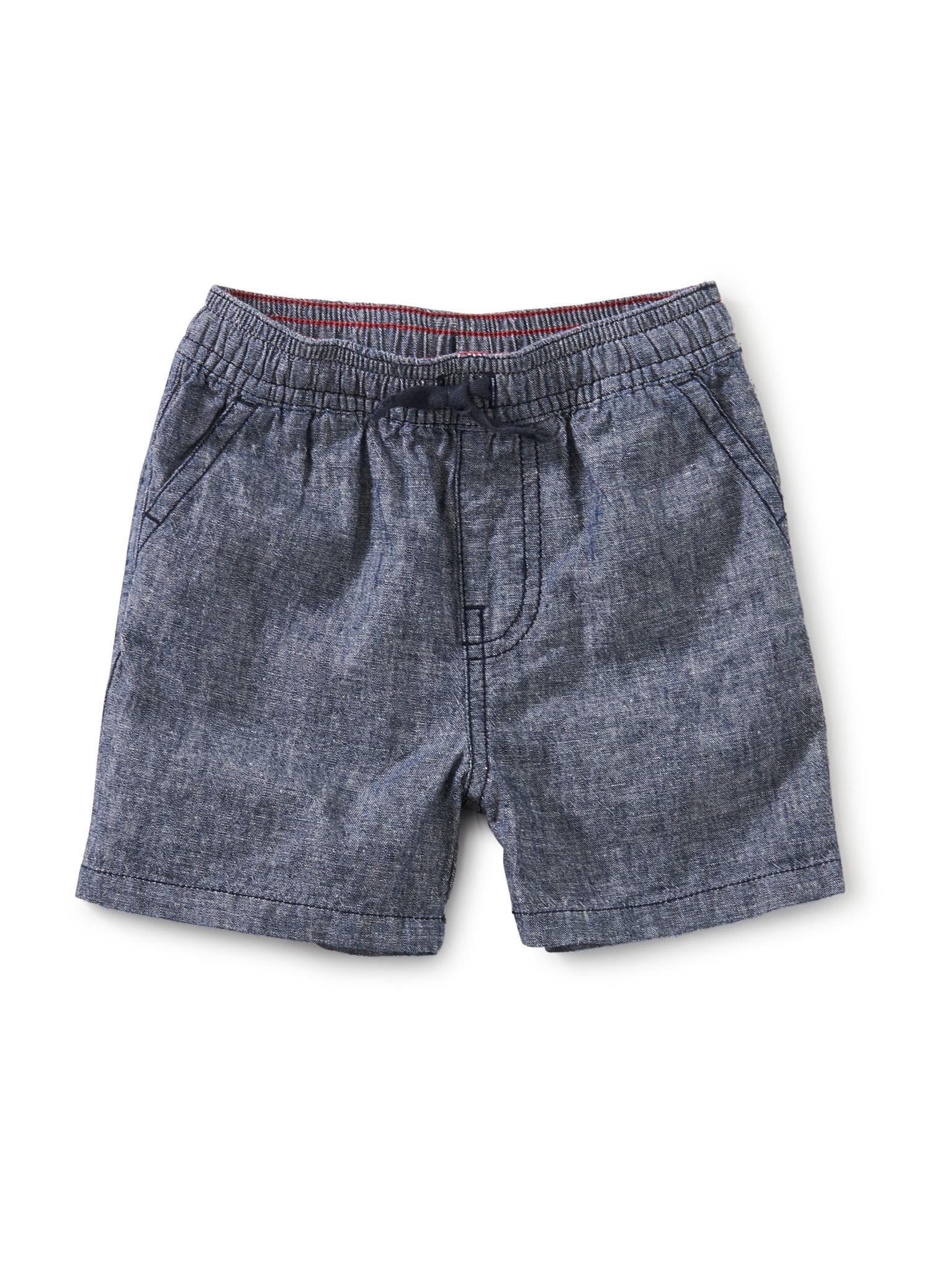 Tea Collection Chambray Discovery Baby Shorts- Indigo