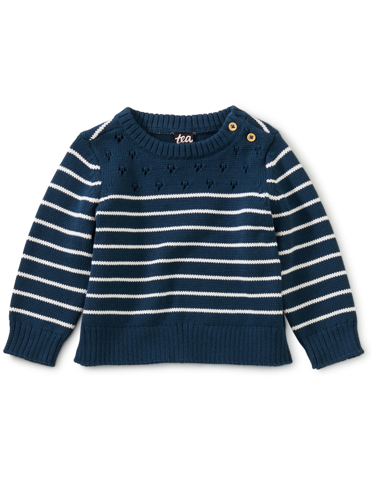 Tea Collection Breton Stripe Baby Sweater - Whale Blue