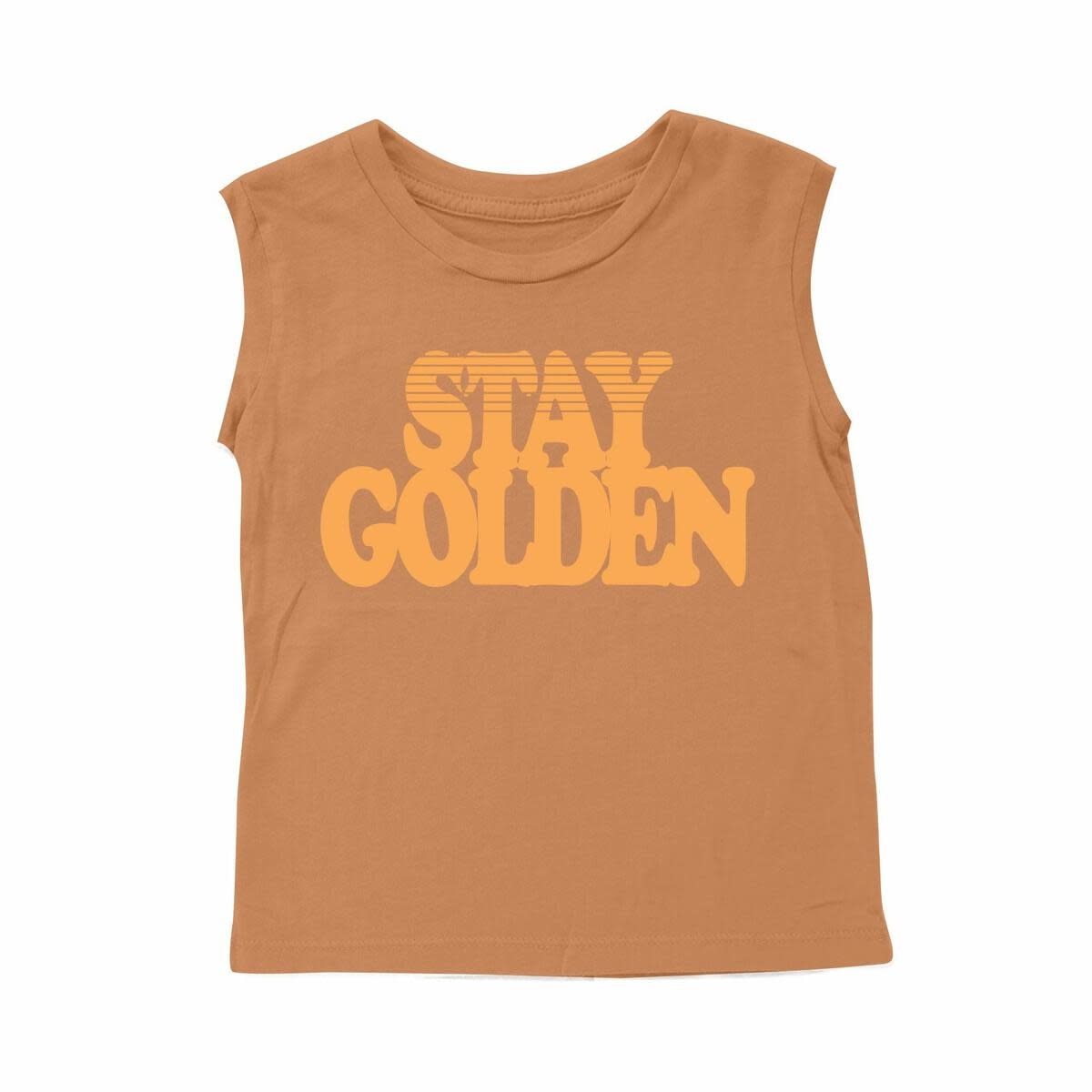 Tiny Whales Stay Golden Muscle Tee - Rust