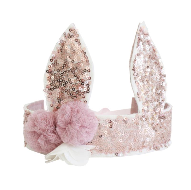 Alimrose Sequin Bunny Crown - Rose Gold