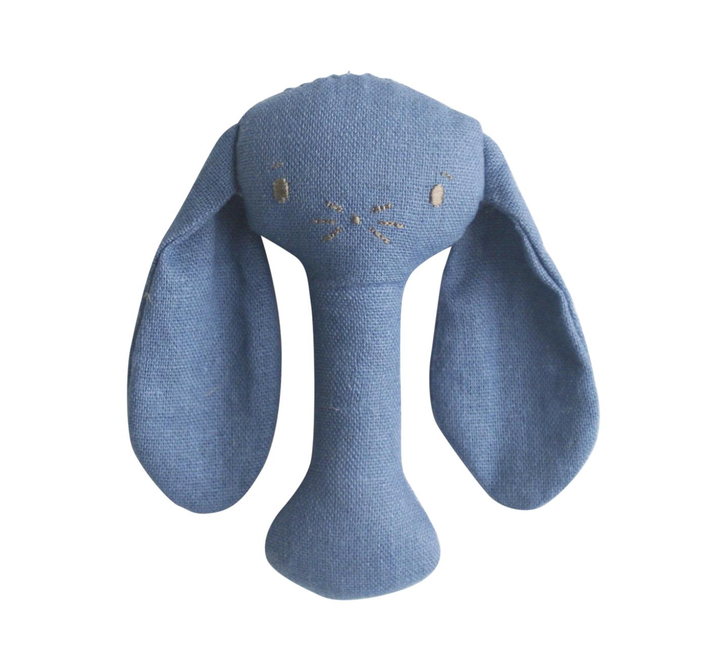 Alimrose Bunny Stick Rattle - Chambray