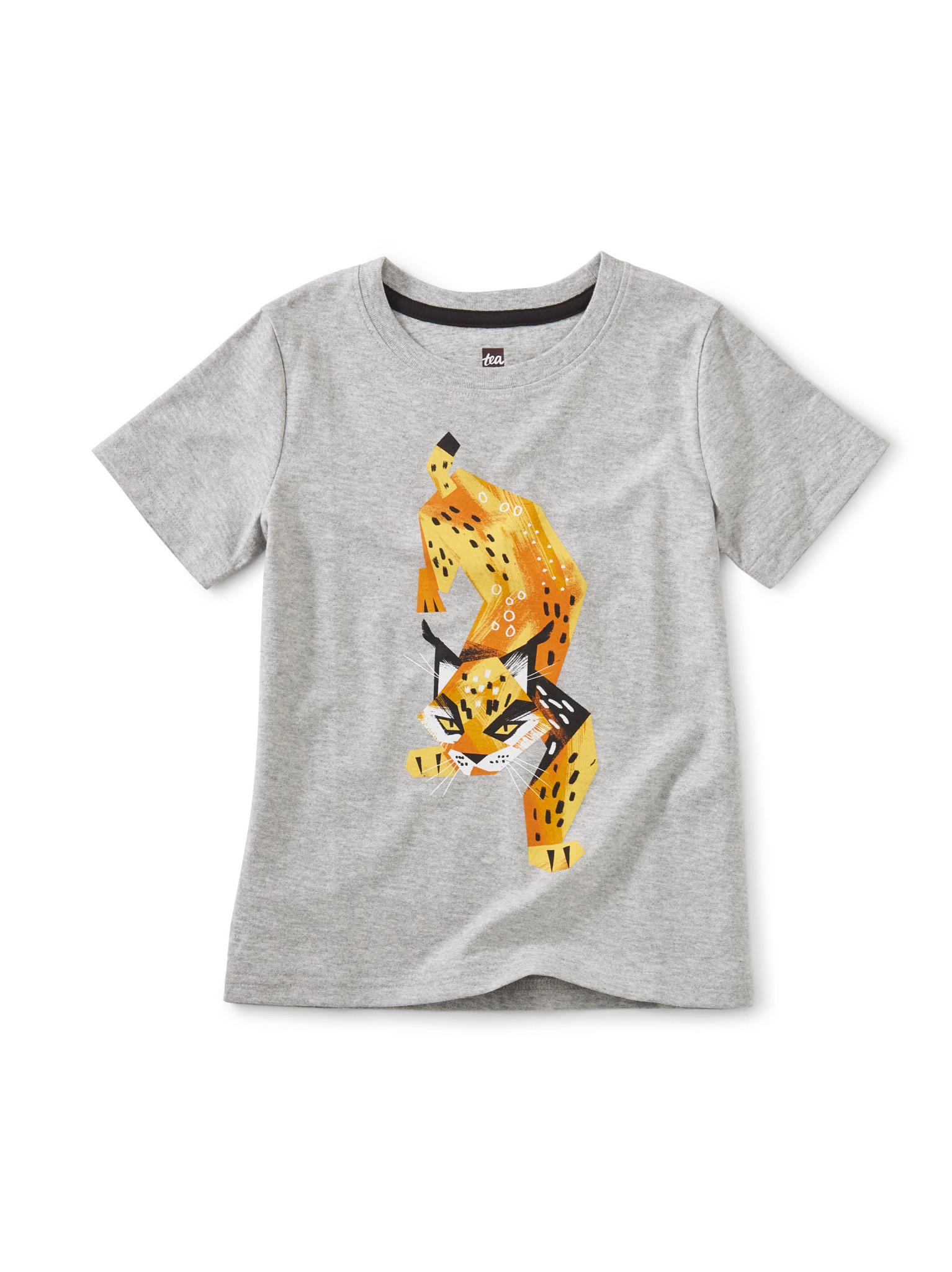 Tea Collection Lively Lynx Graphic Tee- Med Heather