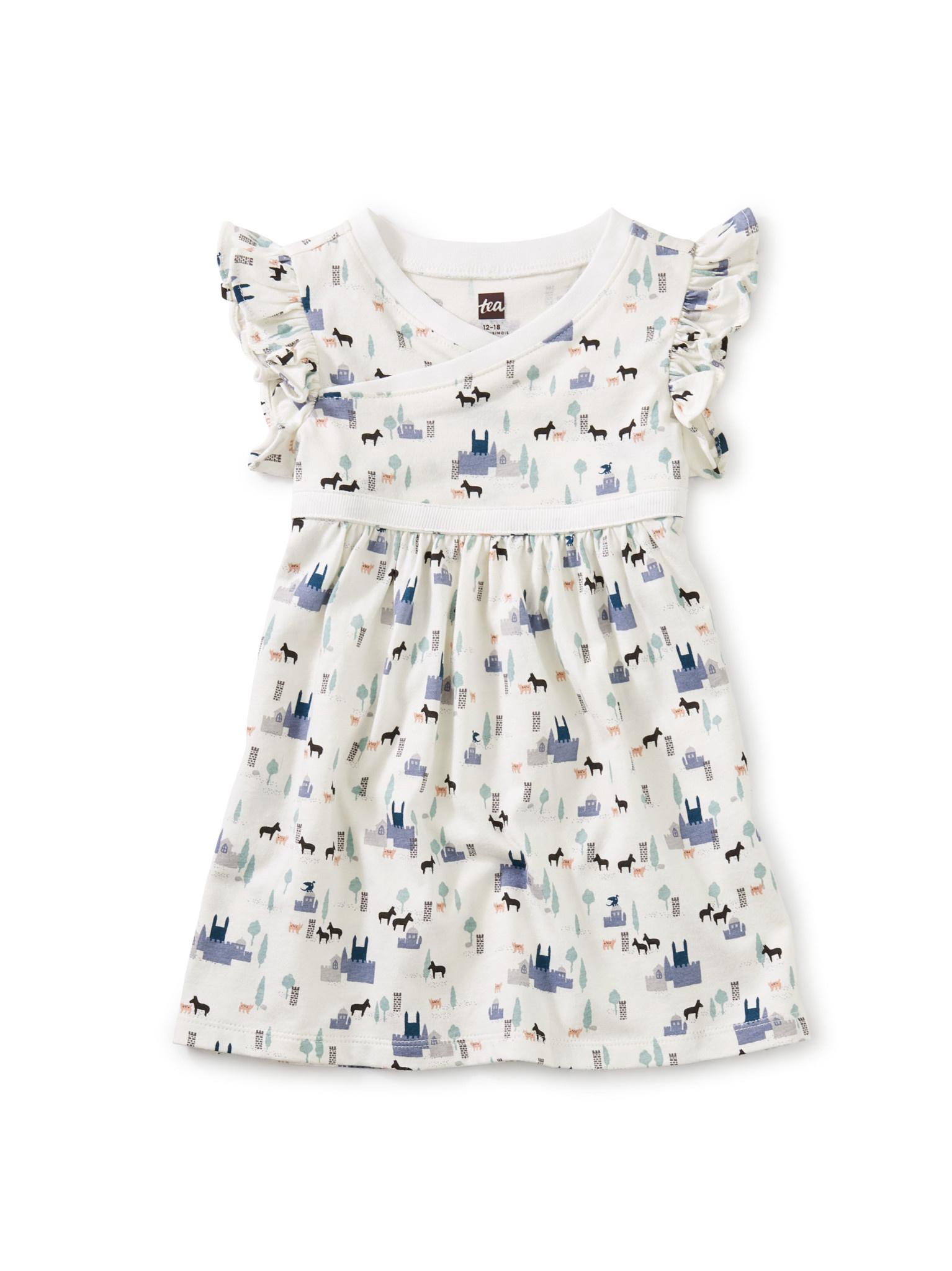 Tea Collection Wrap Neck Baby Dress - Castle Visit