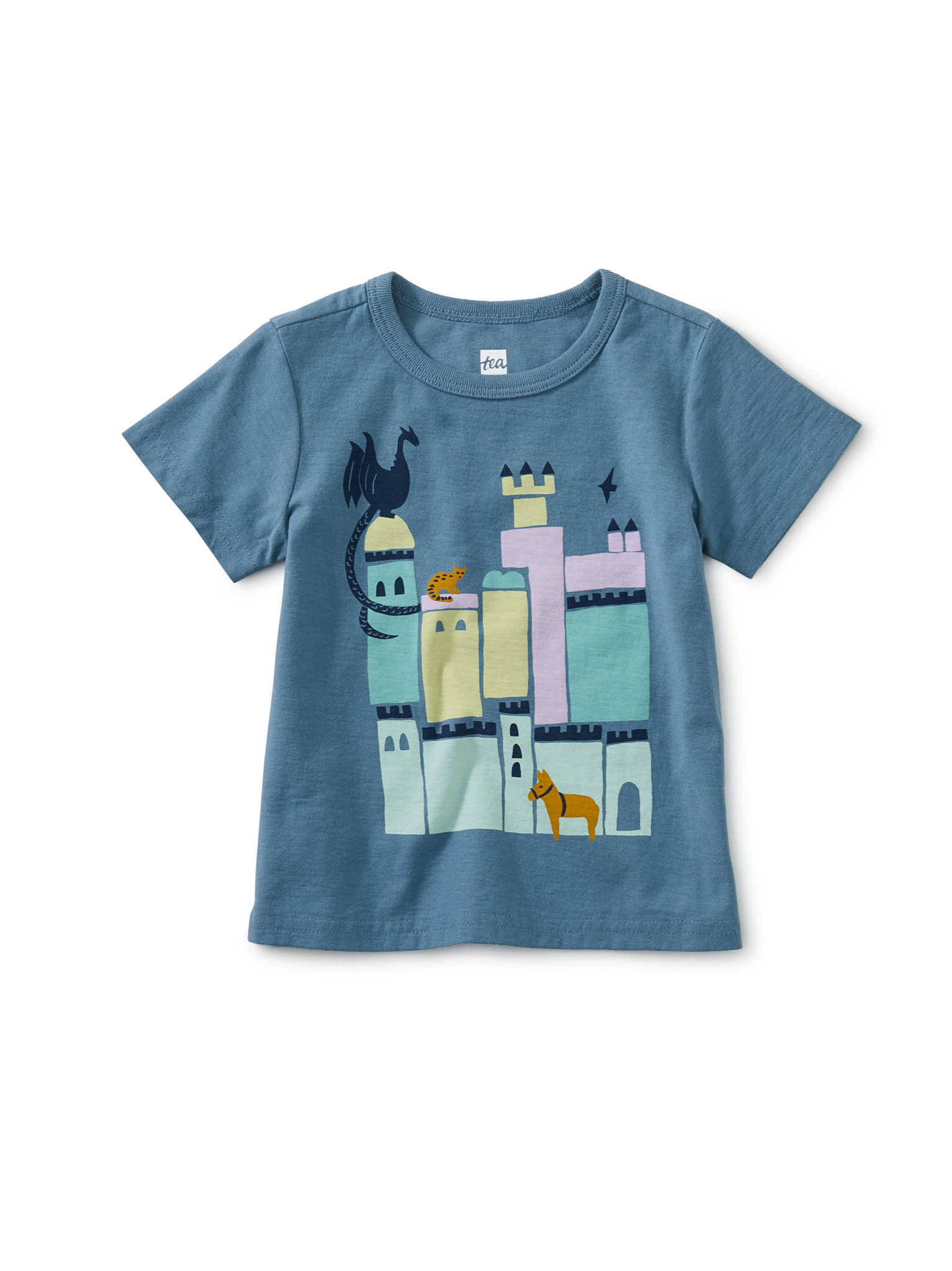 Tea Collection Portugal Palace Graphic Baby Tee- Aegean Blue
