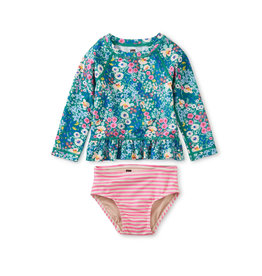 Tea Collection Rash Guard Baby Swim Set- Garden Blues