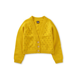 Tea Collection Pointelle Cardigan- Sulphur