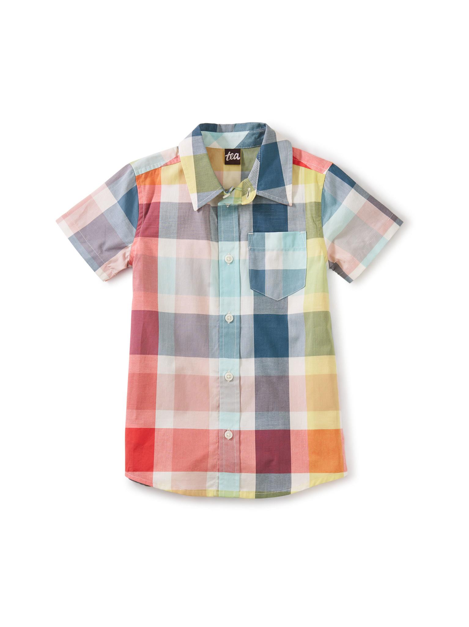 Tea Collection Plaid Button Up Woven Shirt- Sintra Plaid