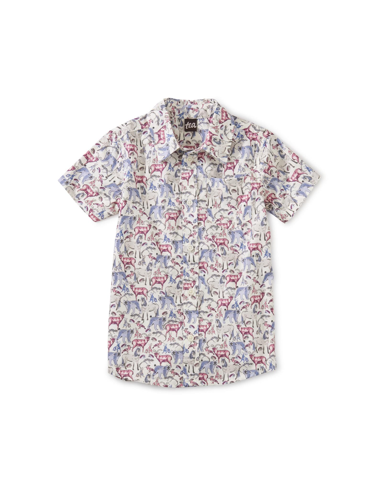 Tea Collection Button Up Woven Shirt- Wildlife