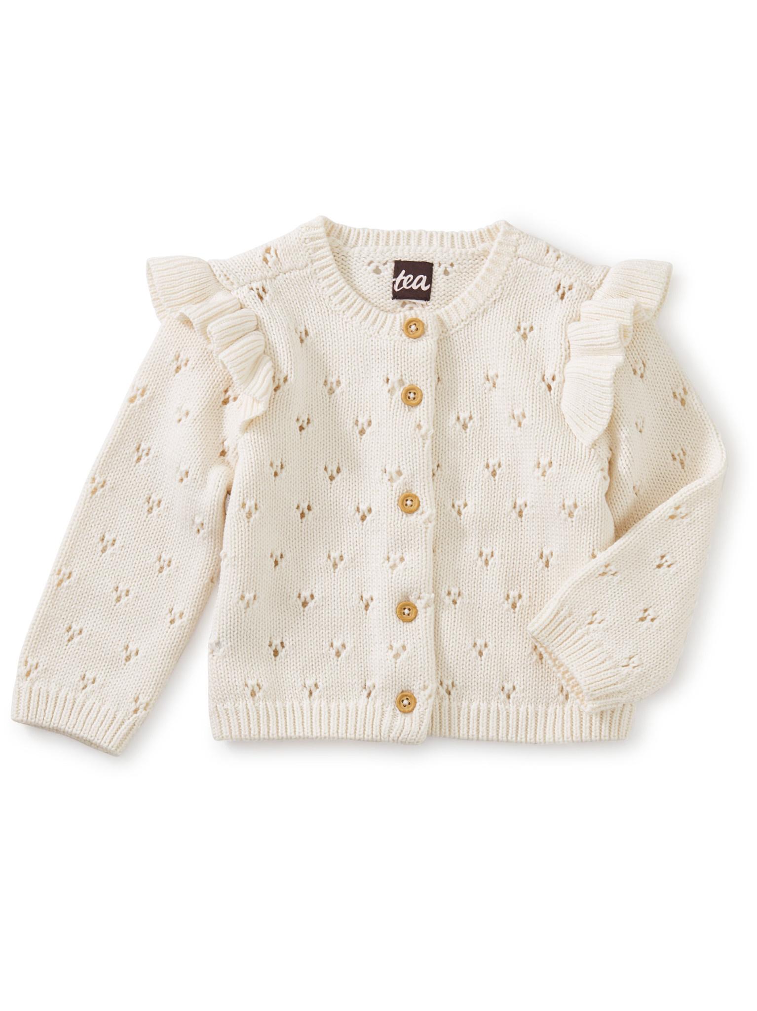 Tea Collection Flutter Shoulder Baby Cardigan- Chalk