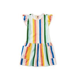 Tea Collection Flutter Sleeve Pocket Dress - Lisbon Stripe
