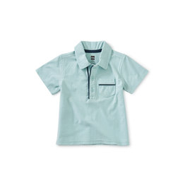 Tea Collection Piped Baby Polo- Canal Blue