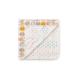 Tea Collection Reversible Blanket- Rainbow