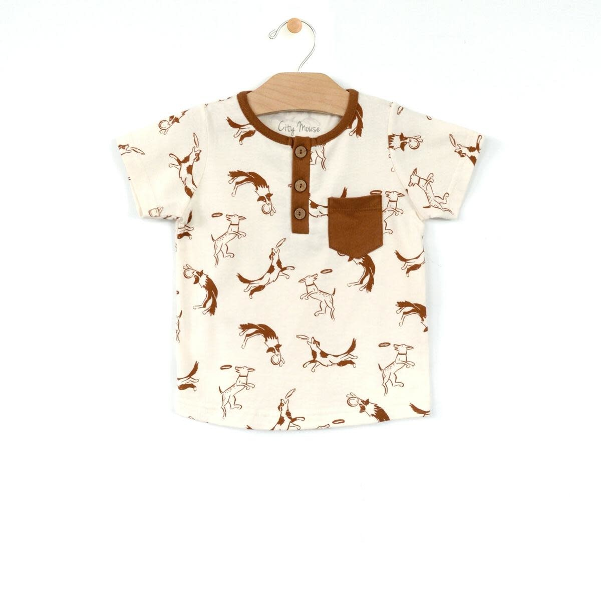 City Mouse Jersey Henley Pocket Tee - Dogs