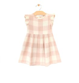 City Mouse Peach Check Dress