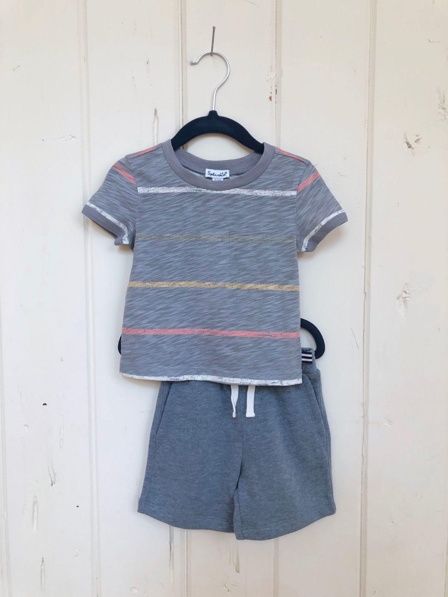 Splendid Painted Stripe Tee + Short Baby Set