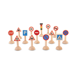 Plan Toys Set of Traffic Signs & Lights- Euro