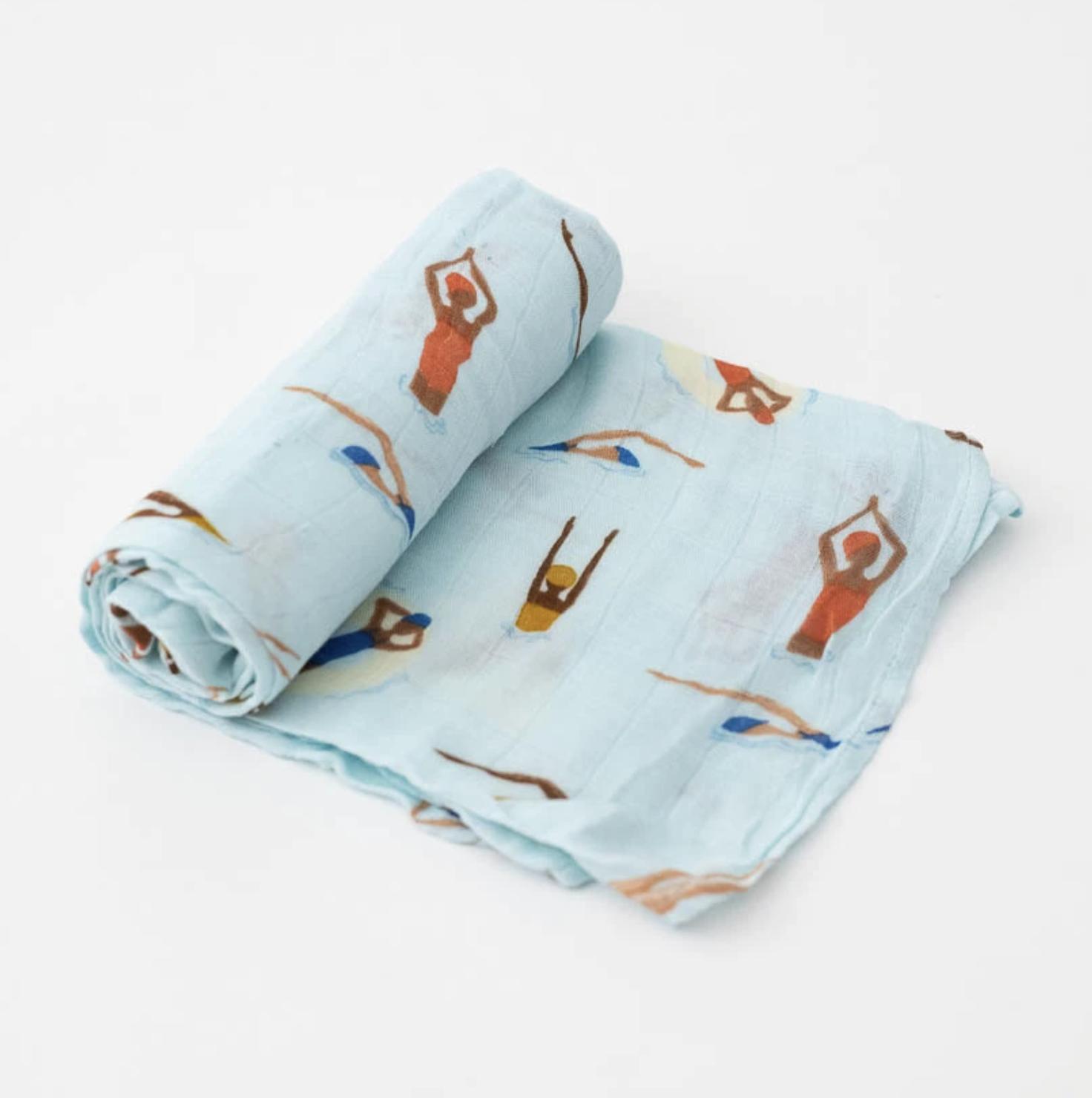 Little Unicorn Deluxe Swaddle Blanket - Swim Cap
