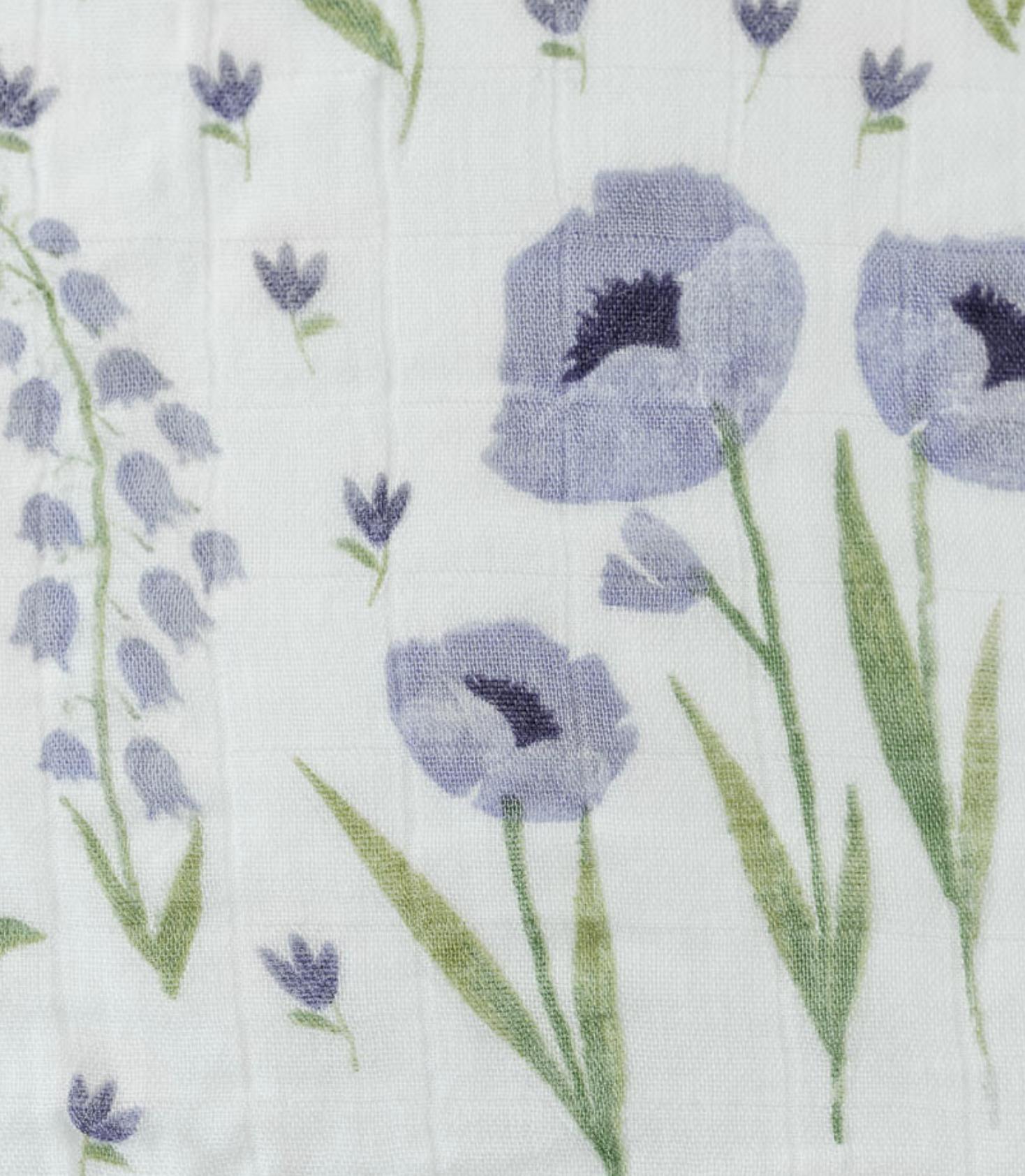 Little Unicorn Deluxe Swaddle Blanket - Blue Wildflower