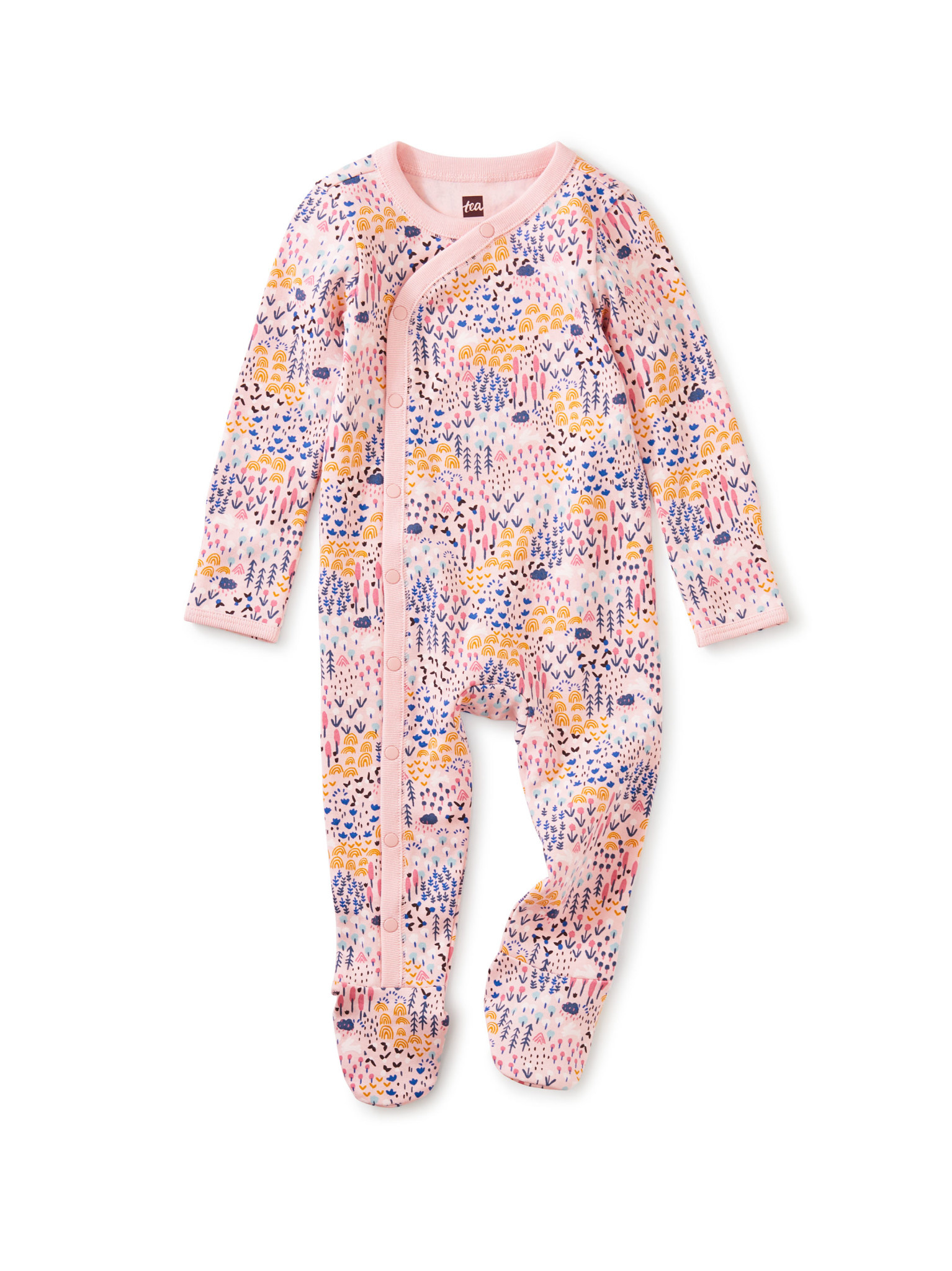 Tea Collection Footed Baby Romper - Rainbow Forest
